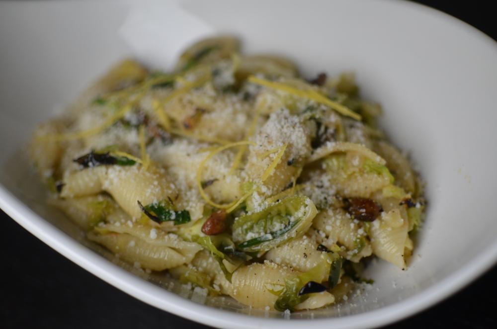 Brussel Sprout Pistachio Pasta